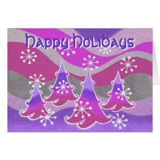Winter Trees purple 'Happy Holidays' text card