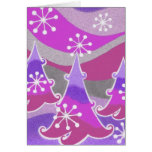 Winter Trees purple 'Happy Holidays'  vertical Greeting Card