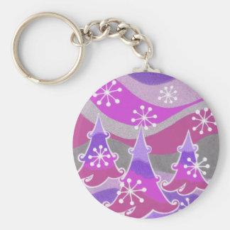 Winter Trees Purple keychain