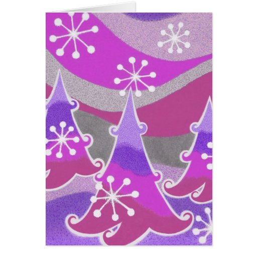 Winter Trees purple Merry Christmas card vertical