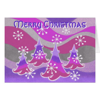 Winter Trees purple  'Merry Christmas' text card