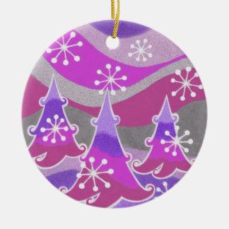 Winter Trees Purple ornament round
