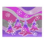 Winter Trees purple postcard