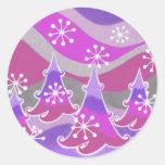 Winter trees purple round sticker