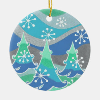 Winter Trees Text ornament round