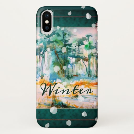 Winter Trees Watercolor Pines and Falling Snow iPhone XS Case