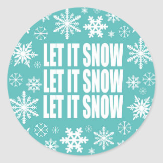 Winter trends let it snow snowflakes classic round sticker