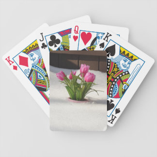 Winter Tulips in Snow Storm Bicycle Playing Cards
