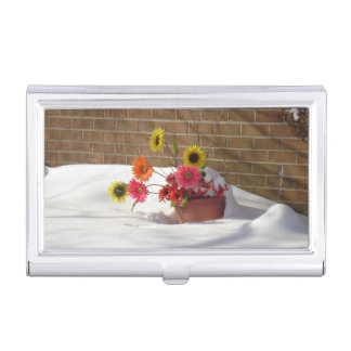 Winter Tulips in Snow Storm Business Card Holder