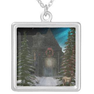 Winter Tunnel Square Pendant Necklace