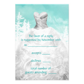 Winter Turquoise Blue Snowflakes Quinceanera RSVP Personalized Invitation