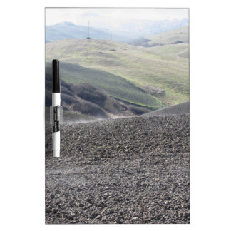 Winter Tuscany landscape with plowed fields Dry Erase Board