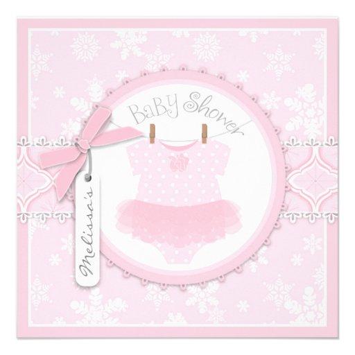 winter tutu and snowflake print baby shower custom invites