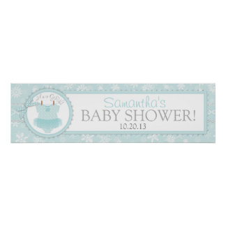 Winter Tutu Snowflake Baby Shower Banner Poster