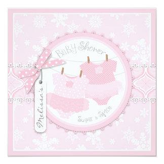 Winter Tutus & Snowflakes Twin Girls Baby Shower Custom Invitation