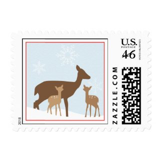 Winter Twin Deers Baby Shower Postage Stamp