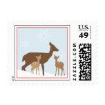 Winter Twin Deers Baby Shower Postage Stamp