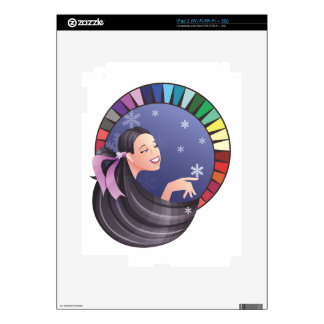 Winter type girl with palette decal for the iPad 2