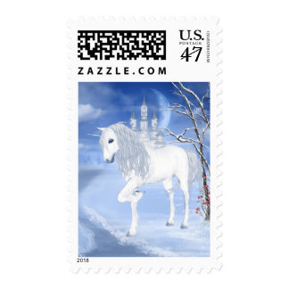 Winter Unicorn Postage Stamp
