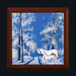 "Winter Unicorns Gift Box<br><div class=""desc"">The beauty of this snowy winter night scene is a magical moment in time. A pair of Unicorns make their way across the snow-covered landscape.  This box will be sure to please those that still dream and love the magic of  the winter season</div>"