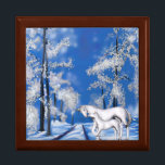 """Winter Unicorns Gift Box<br><div class=""""desc"""">The beauty of this snowy winter night scene is a magical moment in time. A pair of Unicorns make their way across the snow-covered landscape.  This box will be sure to please those that still dream and love the magic of  the winter season</div>"""