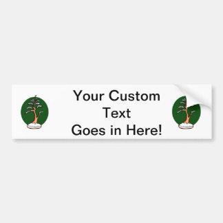 winter upright bonsai green circle behind graphic. car bumper sticker