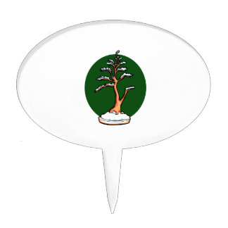 winter upright bonsai green circle behind graphic. cake pick