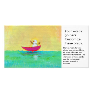 Winter vacation snowman boating travel unique art card