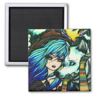 Winter Vampire Wolf Snow Girl Art by Hannah Lynn 2 Inch Square Magnet