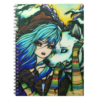 Winter Vampire Wolf Snow Mountain Girl Fantasy Art Notebook