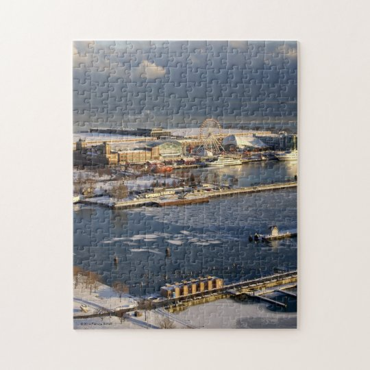 Pier 31: Winter View Of Lake Michigan And Navy Pier Jigsaw Puzzle