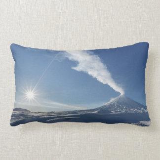 Winter view of volcanic eruption lumbar pillow