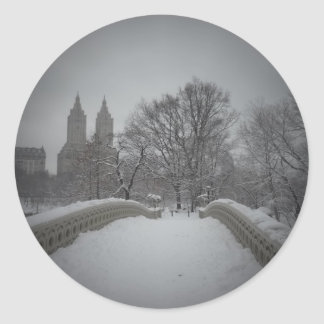 Winter View On Bow Bridge,Central Park, NYC Classic Round Sticker