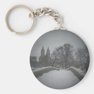 Winter View On Bow Bridge,Central Park, NYC Key Chain