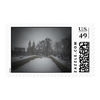 Winter View On Bow Bridge,Central Park, NYC Stamp