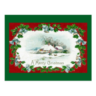 Winter Vignette, Bells and Holly Vintage Xmas Postcard