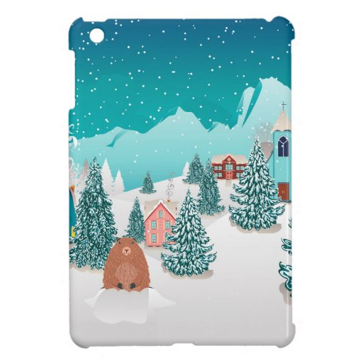 Winter village and groundhog case for the iPad mini