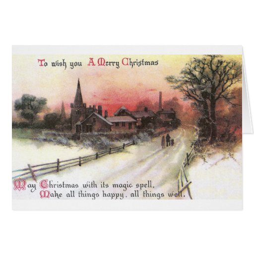 Winter Village at Sunset Vintage Christmas Card