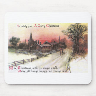 Winter Village at Sunset Vintage Christmas Mouse Pad