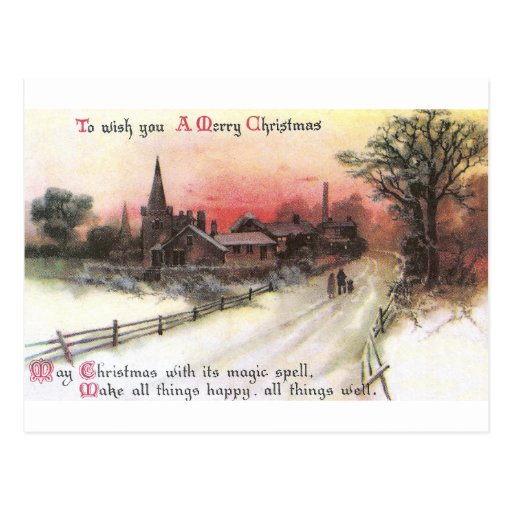 Winter Village at Sunset Vintage Christmas Post Card