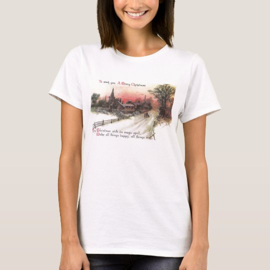 Winter Village at Sunset Vintage Christmas T-Shirt