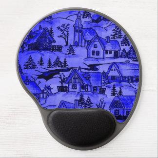 winter village,blue gel mouse pad