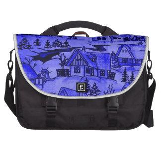 Winter Village, blue Commuter Bags