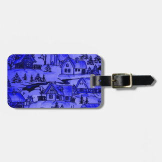 Winter Village, blue Travel Bag Tag
