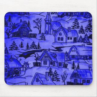 Winter Village, blue Mouse Pad