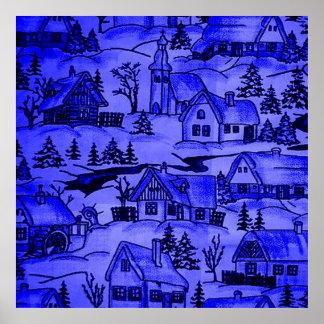 winter village,blue poster