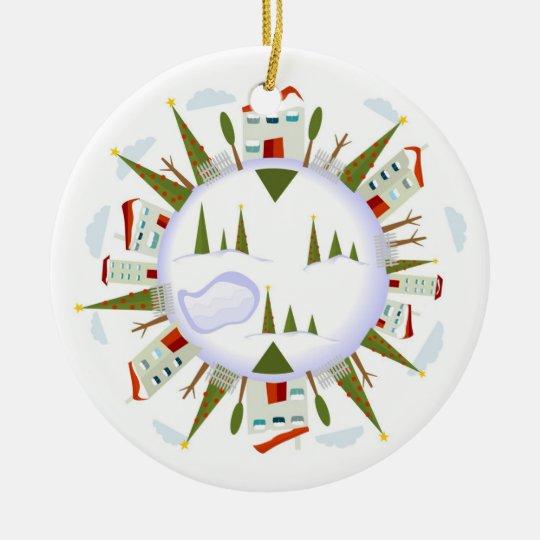 Winter Village Ceramic Ornament