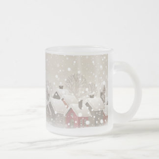 Winter Village Frosted Glass Mug