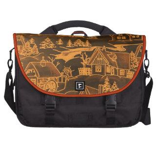 Winter Village, golden Bags For Laptop