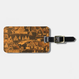 Winter Village, golden Tag For Bags